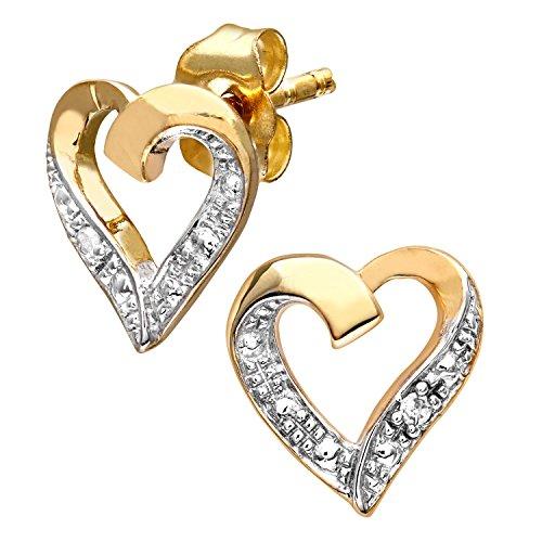 Pendientes Corazón en Plata y con Diamantes
