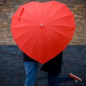 Paraguas con forma de corazón